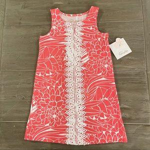 Pappagallo Girls' Sleeveless Melon/White Dress S